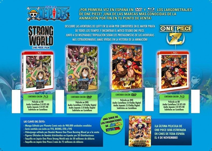 Selecta Visión presenta las ediciones de One Piece Film Z y Strong World